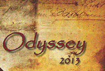 Close up of the words Odyssey 2013 on the cover of the 2013 Odyssey Yearkbook.
